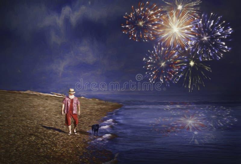 Le père noël sur la plage photo stock