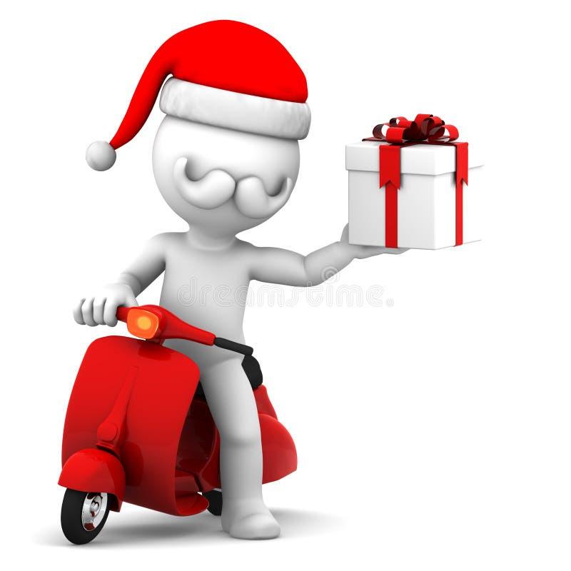 Le père noël sur le cadre de cadeau de fixation de scooter illustration stock