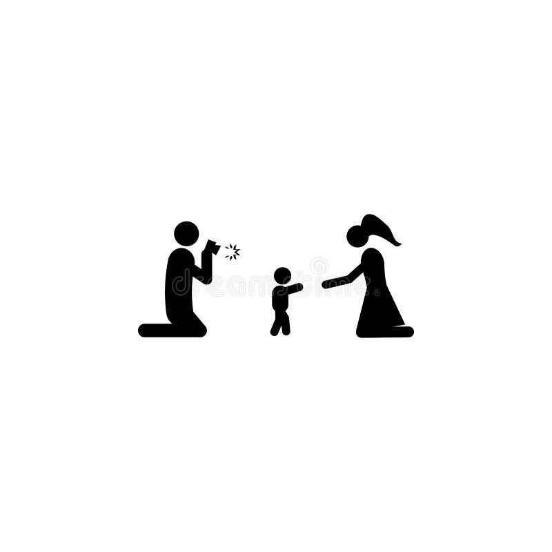 le père prend des photos de l'icône des premières étapes du bébé Élément d'une icône heureuse de famille Icône de la meilleure qu illustration stock