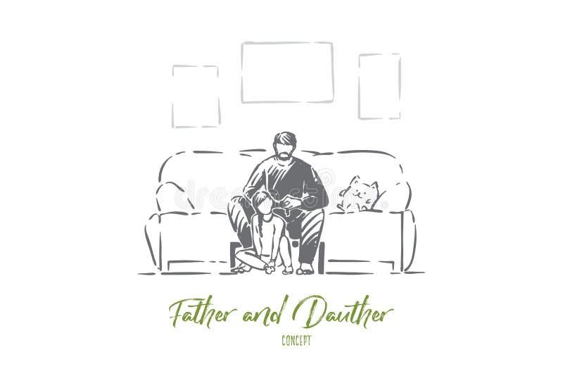 Le père simple aide la fille à tresser des tresses, paternité, papa et peu de fille d'intérieur, parent et enfant, parenting illustration stock