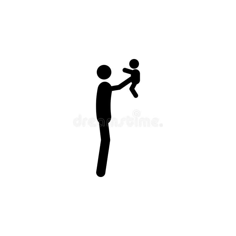 le père tient le bébé dans son icône de bras Élément d'une icône heureuse de famille Icône de la meilleure qualité de conception  illustration libre de droits