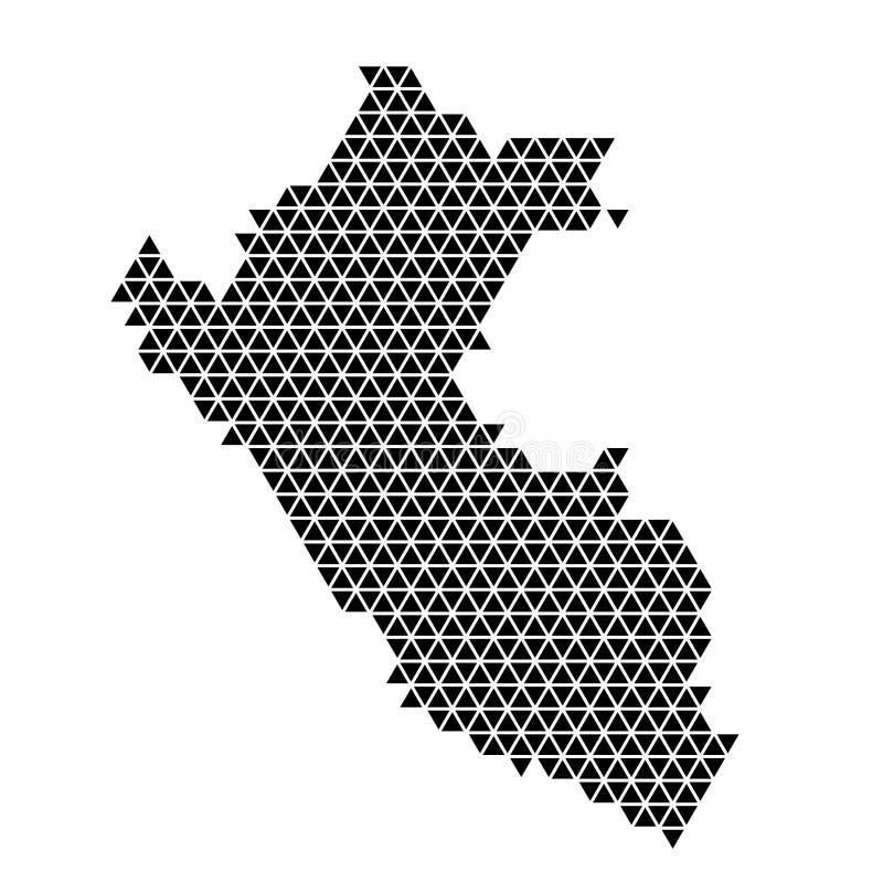 Le Pérou cartographie schéma abstrait à partir de triangles noirs répétition arrière-plan géométrique de motif avec noeuds illustration stock