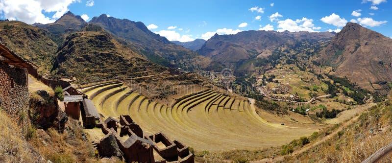 Le Pérou, Pisac Pisaq - ruines d'Inca dans la vallée sacrée dans les Andes péruviens photos stock