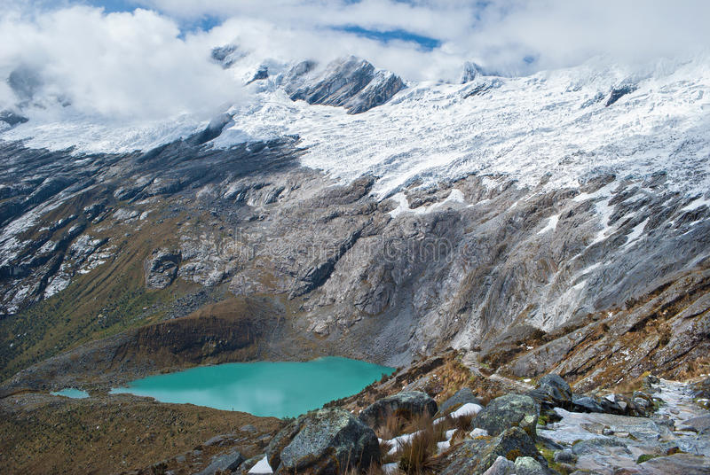 Le Pérou - regardez du Blanca de Cordillère dans les Andes - le Lagunas Morococha images libres de droits