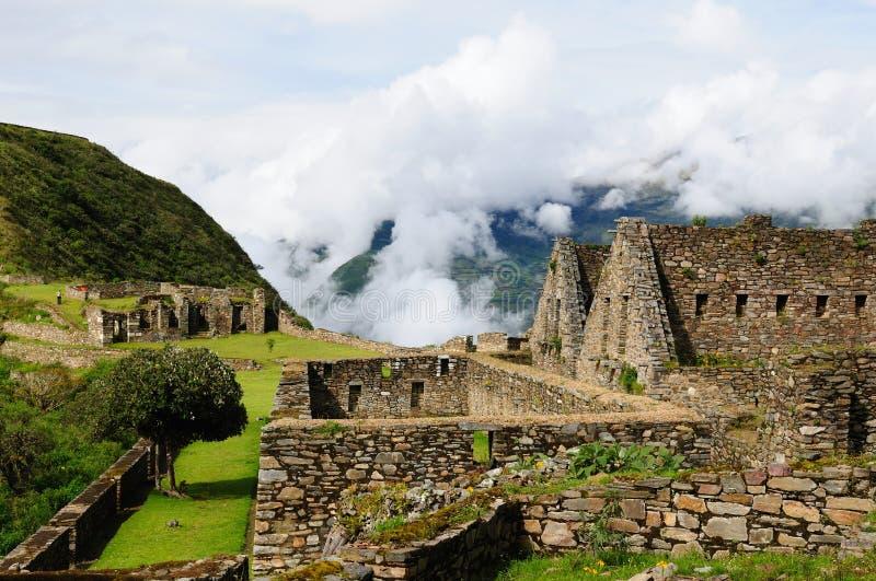 Le Pérou, ruines lointaines d'Inca de Choquequirau près de Cuzco image libre de droits