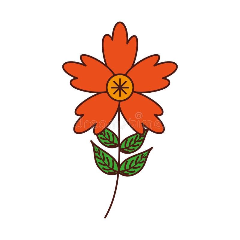 Le pétale de fleur de crocus laisse à tige l'ornement naturel illustration de vecteur