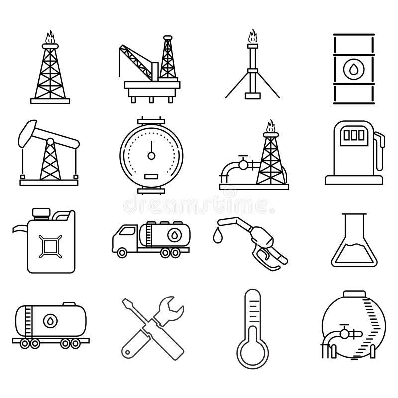 Le pétrole et les icônes de ressources énergétiques dirigent la conception iconique illustration libre de droits