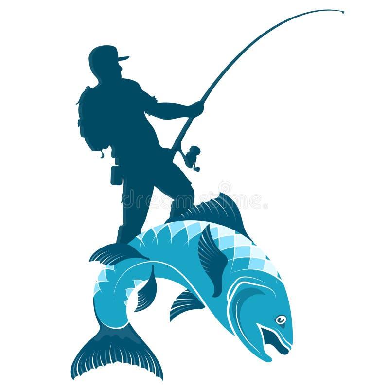 Le pêcheur attrape la silhouette de poissons illustration de vecteur