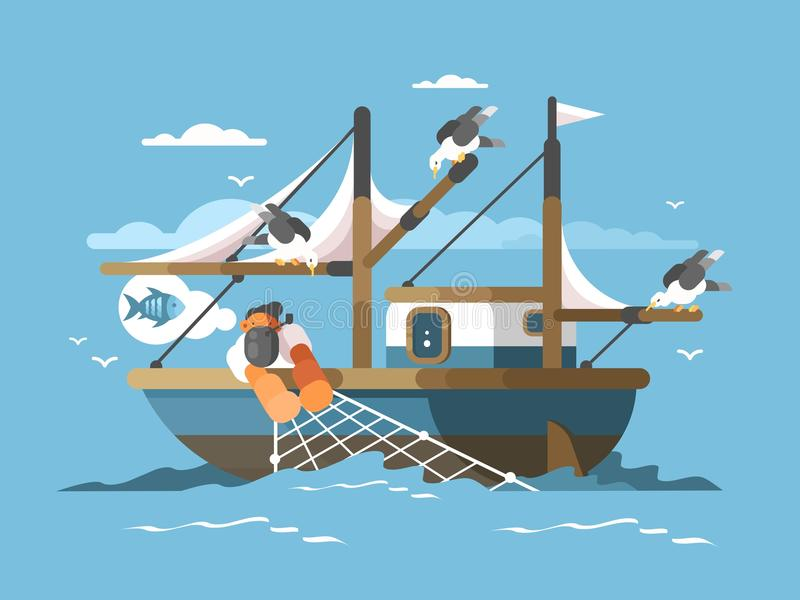 Le pêcheur tire le filet de pêche illustration de vecteur