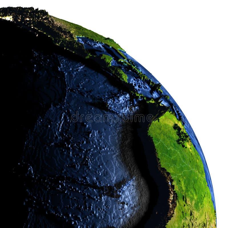Download Le Pacifique Est Sur Terre La Nuit Avec Les Montagnes Exagérées Illustration Stock - Illustration du rendez, exagéré: 87700473