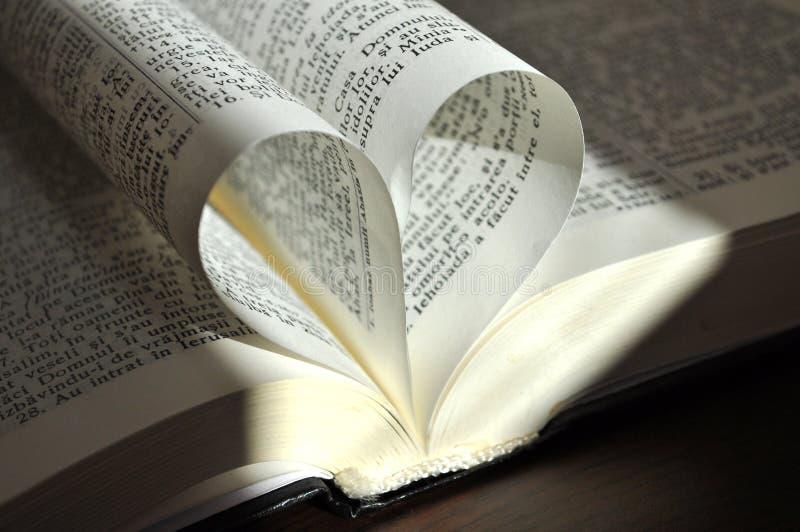 Le pagine del primo piano di un libro aperto, con cuore hanno modellato le pagine immagine stock libera da diritti