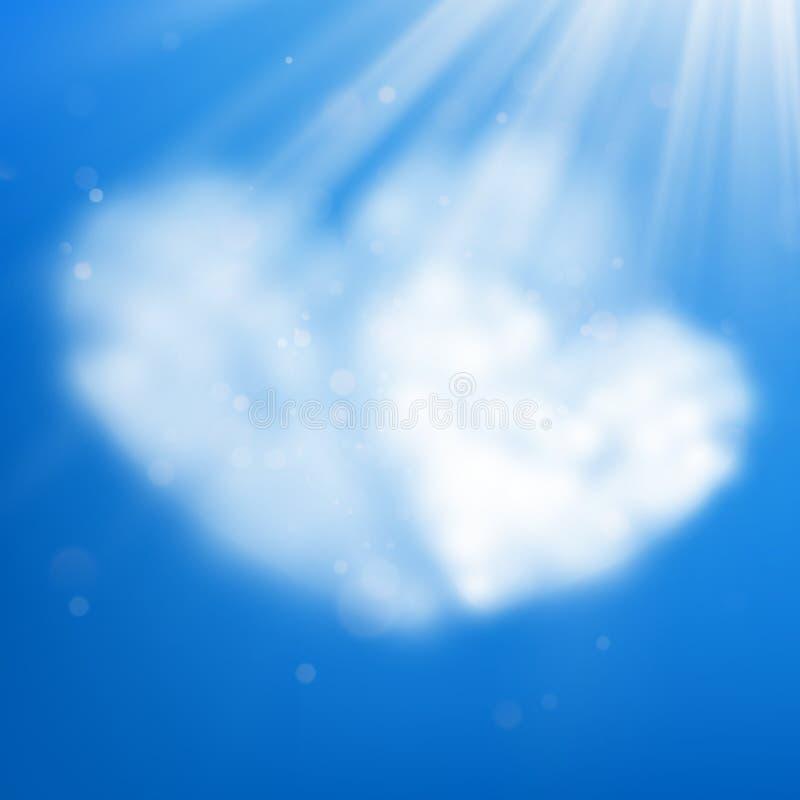 Le paia del cuore hanno modellato la nuvola nel cielo blu Giorno del biglietto di S. Valentino s ENV 10 illustrazione di stock