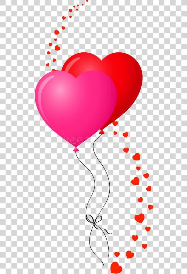 Le paia di cuore realistico limitato hanno modellato il ballo rosso e rosa dell'elio illustrazione vettoriale
