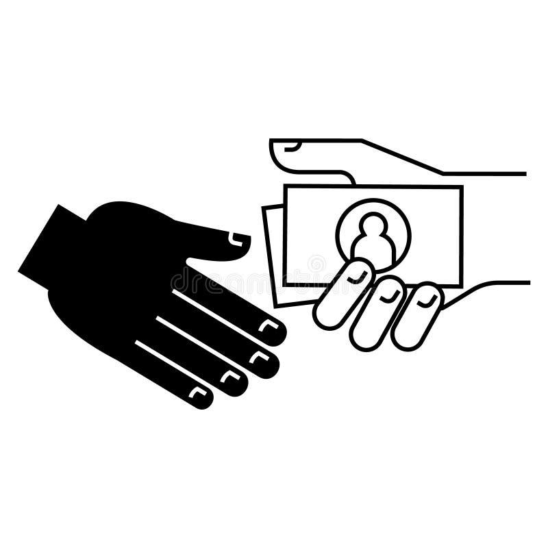 Le paiement illicite - pourboire - icône de pension, illustration de vecteur, noir se connectent le fond d'isolement illustration de vecteur