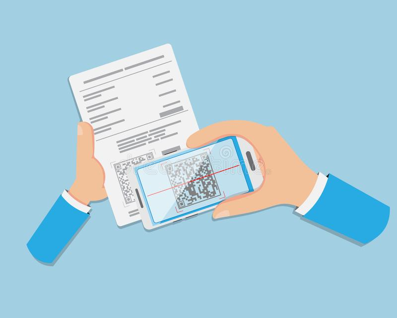 Le paiement plat de main est effectué par l'intermédiaire de CODE QR images stock