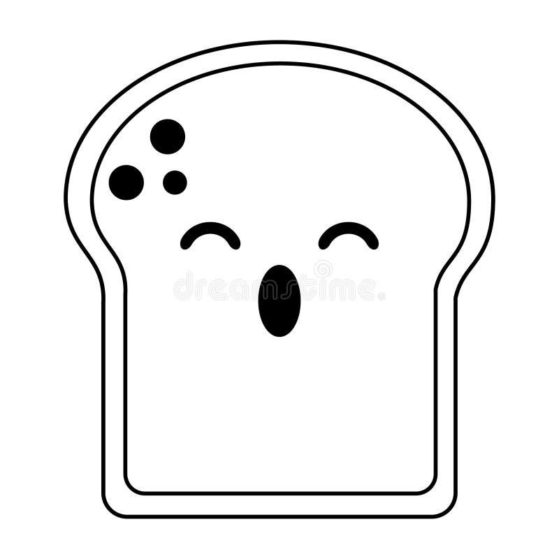 Le pain a découpé la bande dessinée en tranches étonnée de kawaii en noir et blanc illustration libre de droits