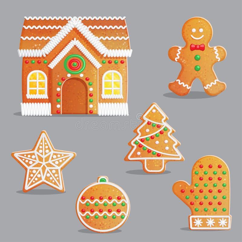 Le pain d'épice traditionnel de Noël traite l'ensemble d'illustration illustration stock