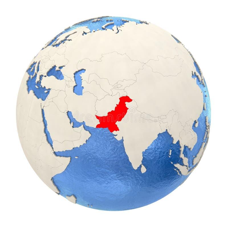 Le Pakistan en rouge sur le plein globe d'isolement sur le blanc illustration de vecteur