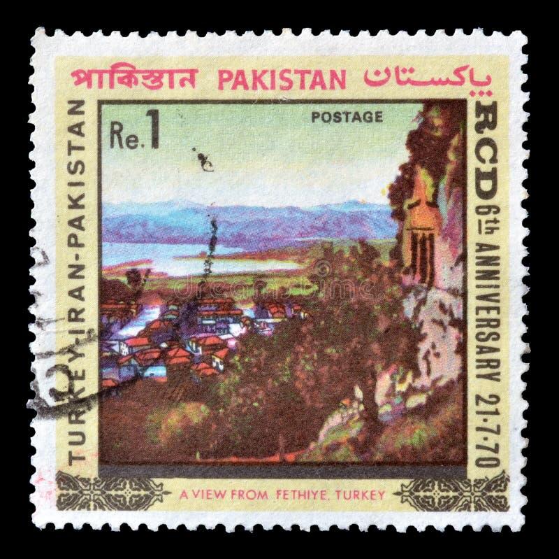Le Pakistan sur des timbres-poste images stock