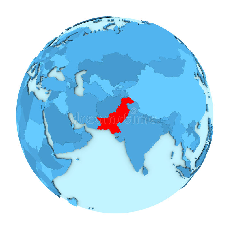 Le Pakistan sur le globe d'isolement illustration libre de droits