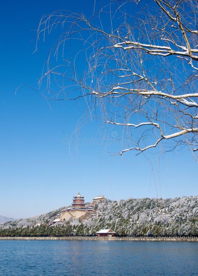 Palais d'été dans la neige photographie stock libre de droits