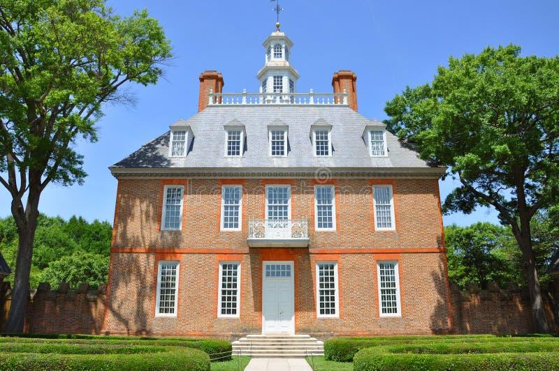 Le palais du Gouverneur, Williamsburg image stock