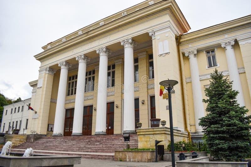 Le palais du Roumain de justice ou de Palatul Justitiei dans le centre ville de la ville Ramnicu Valcea Néo- architecture de cons photographie stock