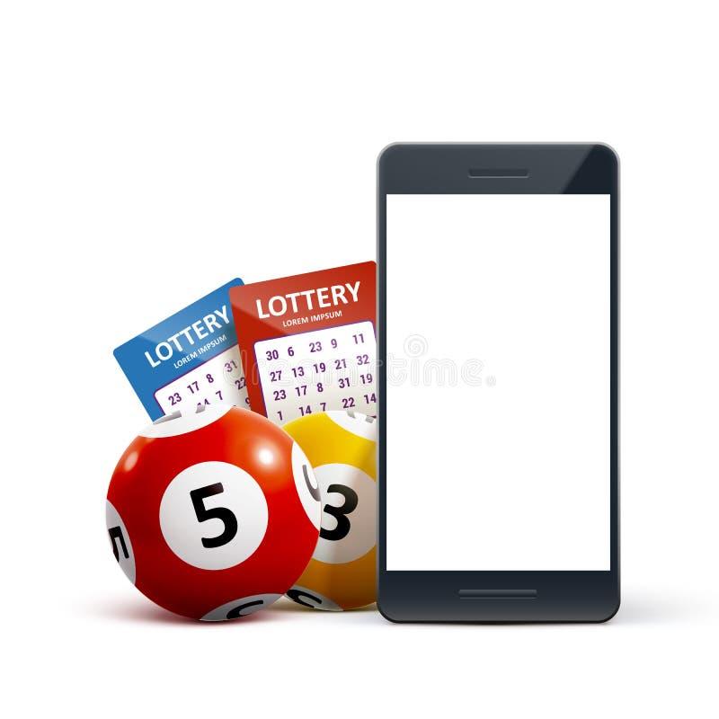 Le palle dell'icona di lotteria 3d ettichettano il telefono sul vettore bianco illustrazione vettoriale