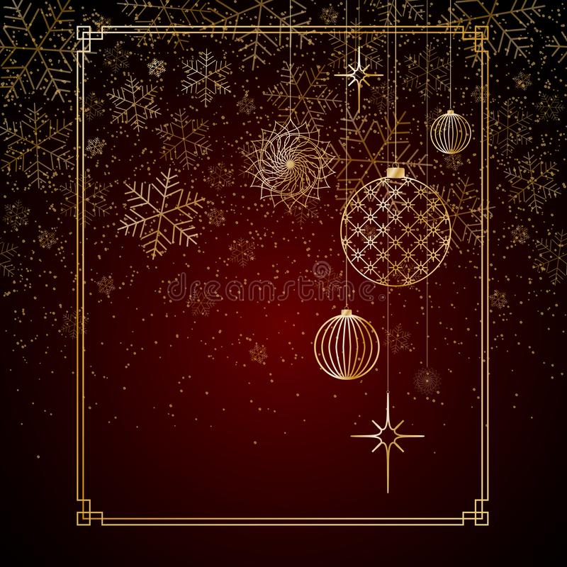 Le palle dell'oro del fondo di Natale gioca le stelle che i fiocchi di neve brillano su un fondo rosso un fondo per il Natale ed  illustrazione vettoriale