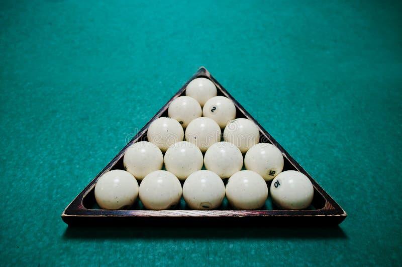 Le palle di biliardo russe nel triangolo fotografia stock libera da diritti