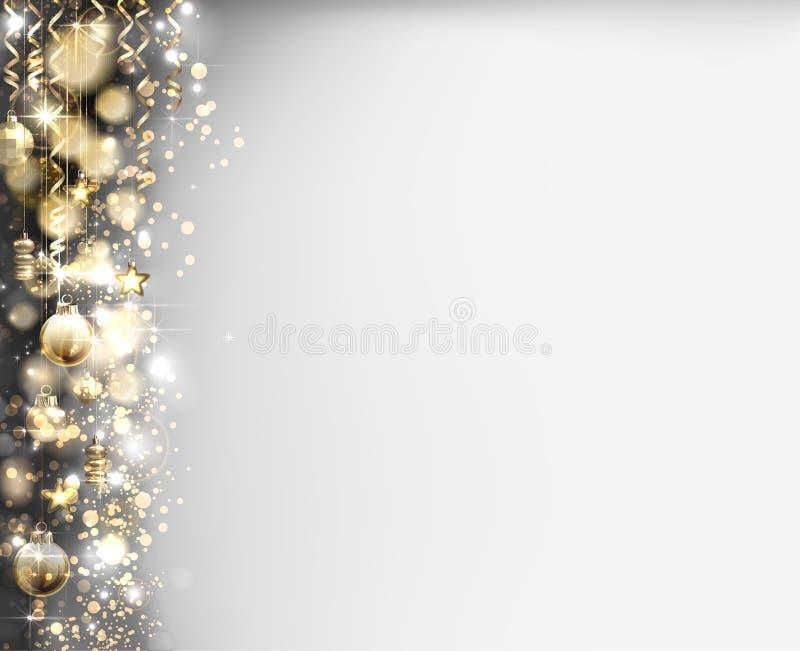 Le palle di sera di natale sul lustro hanno baluginato fondo di Natale illustrazione vettoriale