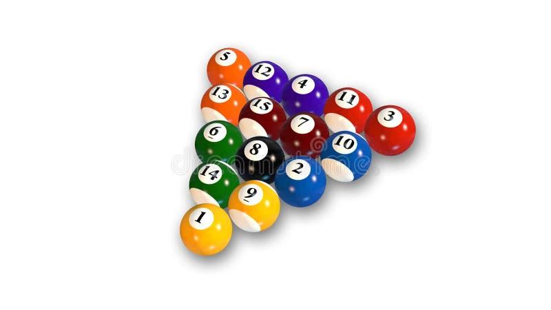 Le palle di stagno in vari colori, palle da biliardo hanno sistemato su fondo bianco illustrazione vettoriale