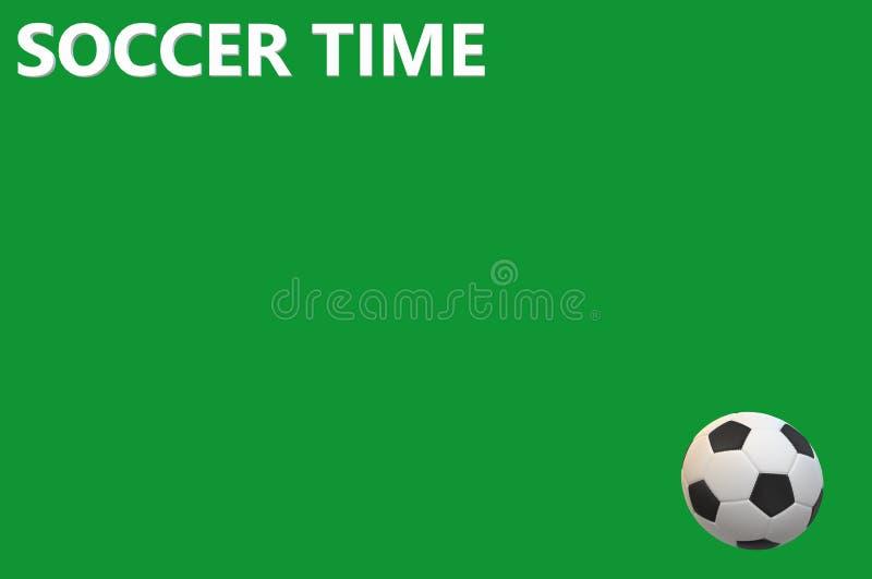 Le palle di tempo di calcio sostengono la ricreazione nera bianca di sport del testo del fondo della palla di calcio di verde del illustrazione vettoriale