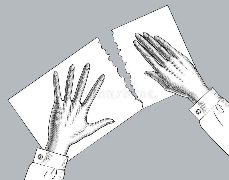 Le palme delle mani della femmina giù strappano uno strato di carta illustrazione di stock