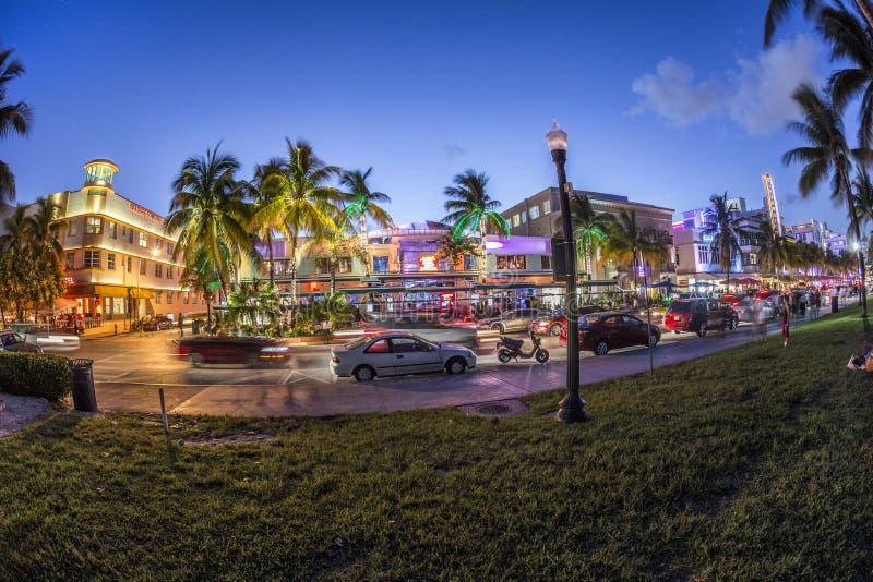 Le palme e gli hotel di art deco all'oceano guidano immagini stock