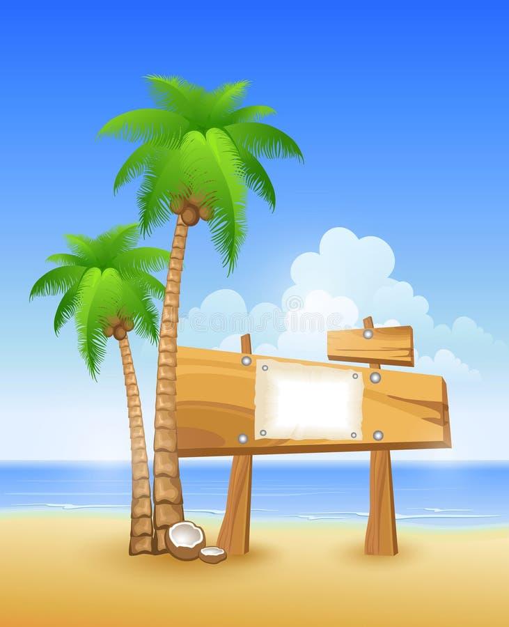 Le palmier et en bois se connectent une plage illustration libre de droits