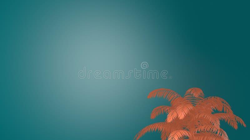 Le palmier tropical de corail vert vivant part sur le fond vert bleu illustration de vecteur