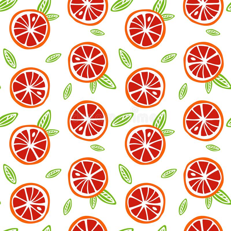 Le pamplemousse orange et rouge de fruit avec le vert part sur un CCB blanc illustration libre de droits