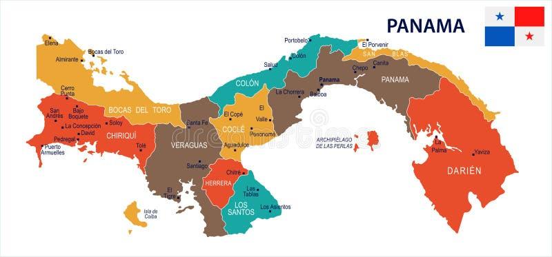 Le Panama - illustration détaillée de vecteur de carte et de drapeau illustration de vecteur