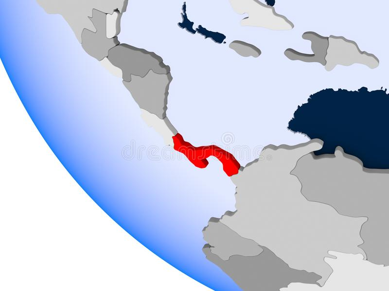 Le Panama sur le globe politique illustration de vecteur