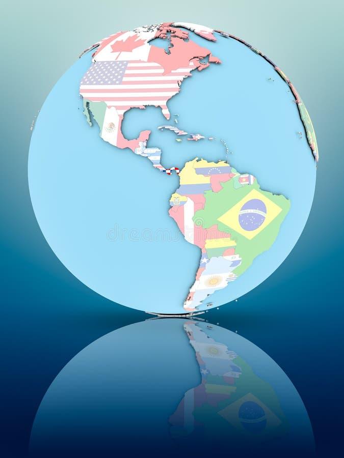 Le Panama sur le globe politique avec des drapeaux illustration libre de droits