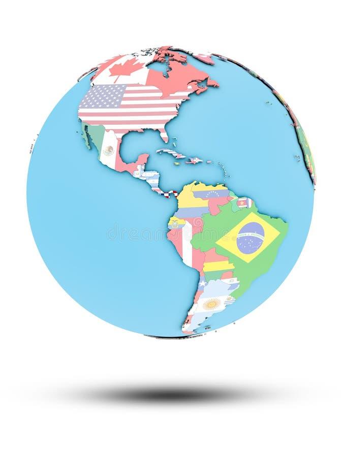 Le Panama sur le globe politique avec des drapeaux illustration stock