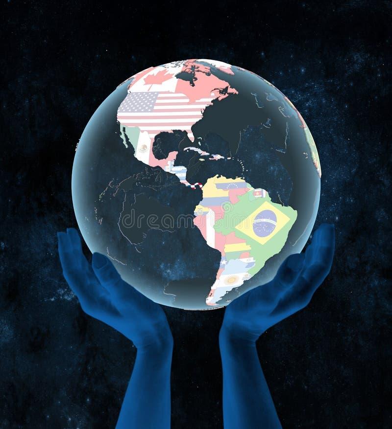 Le Panama sur le globe politique dans des mains illustration stock