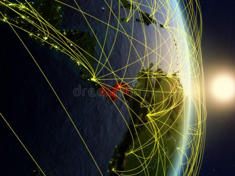 Le Panama sur la terre reliée au réseau de planète photographie stock libre de droits