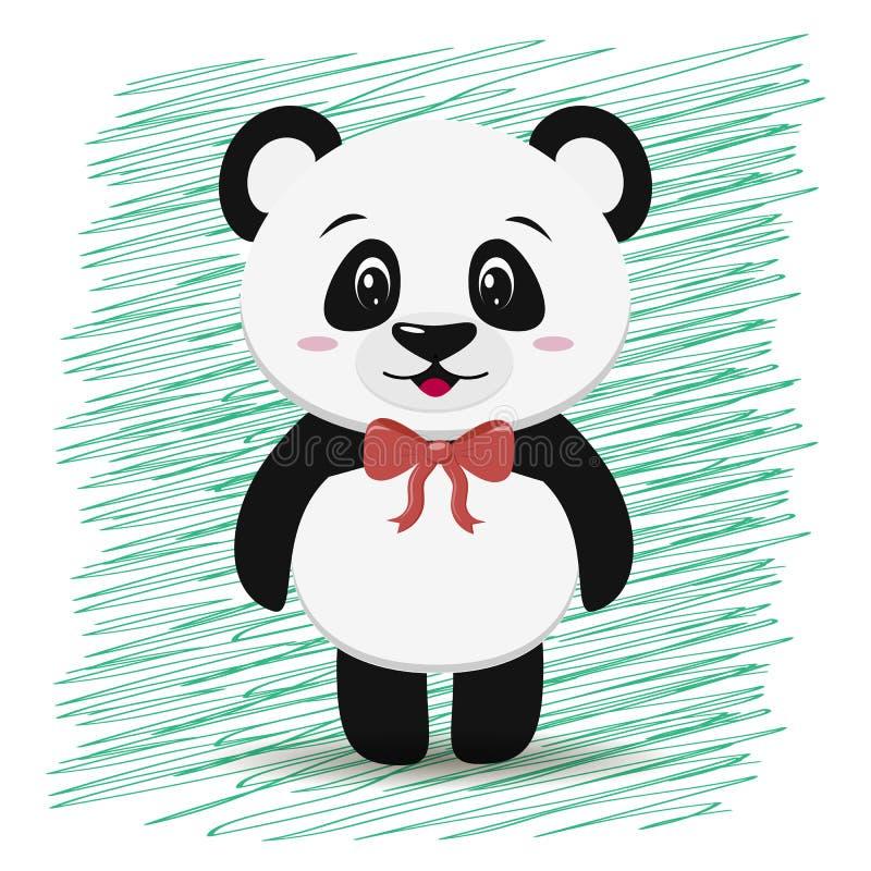 Le panda doux avec un arc rouge autour de son cou, dans le style de la bande dessinée se tient illustration stock