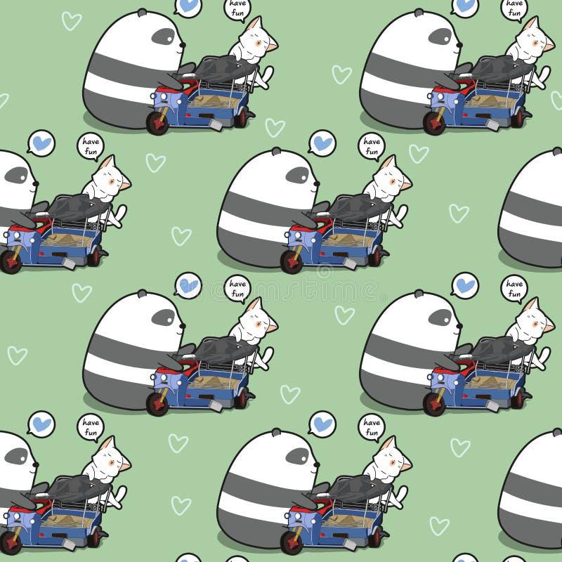 Le panda et le chat sans couture de kawaii joue le modèle de jouet illustration libre de droits