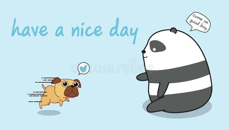 Le panda joue avec un chien illustration libre de droits