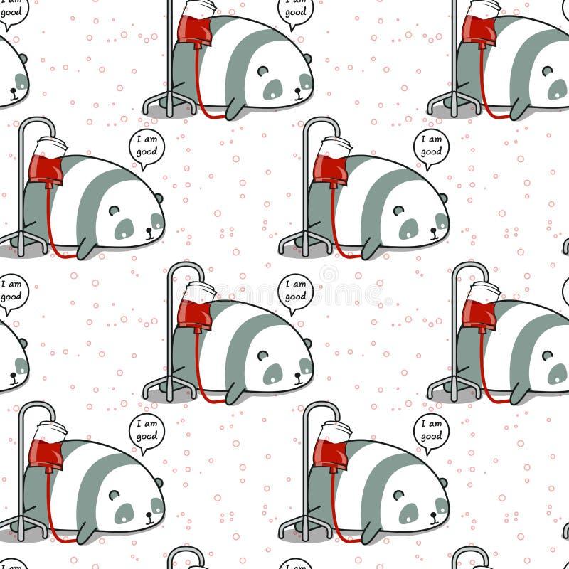 Le panda sans couture de kawaii est modèle en difficulté illustration libre de droits