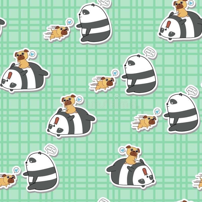 Le panda sans couture joue avec le mod?le de chien illustration libre de droits