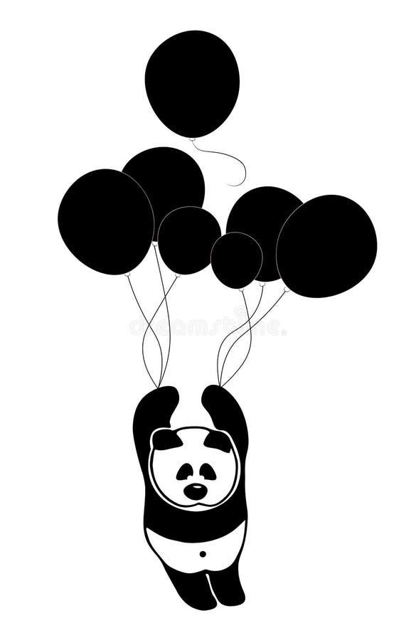 Le panda triste se lève dans le ciel (ciel) par des ballons à la recherche de la solitude et de la paix illustration libre de droits